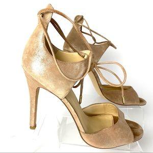 Itholidae style Nude glitter peep toe lace up 9.5M